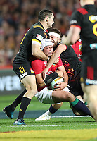 Rugby Union - 2017 British & Irish Lions Tour of New Zealand - Chiefs vs. British & Irish Lions<br /> <br /> Rory Best of The British and Irish Lions is sandwiched by Steven Donald and Mitchell Brown of Chiefs at FMG Stadium Waikato, Hamilton.<br /> <br /> COLORSPORT/LYNNE CAMERON