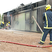 Fire fighters during training exercise.