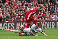 Football - 2021 / 2022 Premier League - Liverpool vs Burnley - Anfield - Saturday 21st August 2021<br /> <br /> <br /> <br /> Liverpool's Harvey Elliott is tackled by Burnley's Josh Brownhill