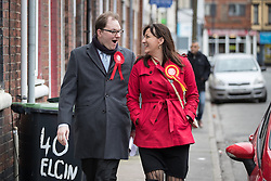 © Licensed to London News Pictures . 19/02/2017. Stoke-on-Trent, UK. GARETH SNELL and LUCIANA BERGER canvassing in the Cliffe Vale district of Stoke . Labour Shadow Chancellor John McDonnell joins Gareth Snell - the party's candidate for the seat of Stoke-on-Trent Central , in the by-election campaign . Photo credit: Joel Goodman/LNP