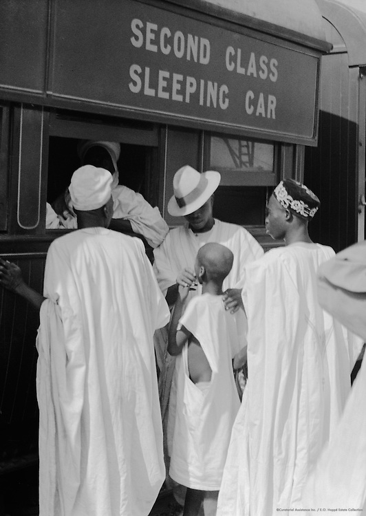 Second Class Sleeping Car at Train Station, Lagos, Nigeria, Africa, 1937