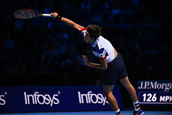 November 14, 2017 - London, England, United Kingdom - Pierre-Hugues Herbert of France partner of Nicolas Mahut of France returns the ball during the doubles match against Ryan Harrison of The United States and Michael Venus of New Zealand on day three of the Nitto ATP World Tour Finals at O2 Arena on November 14, 2017 in London, England. (Credit Image: © Alberto Pezzali/NurPhoto via ZUMA Press)