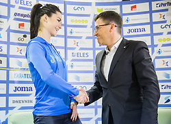 Nina Djordjevic and Roman Dobnikar, new president of AZS during press conference when Slovenian athletes and their coaches sign contracts with Athletic federation of Slovenia for year 2016, on February 25, 2016 in AZS, Ljubljana, Slovenia. Photo by Vid Ponikvar / Sportida