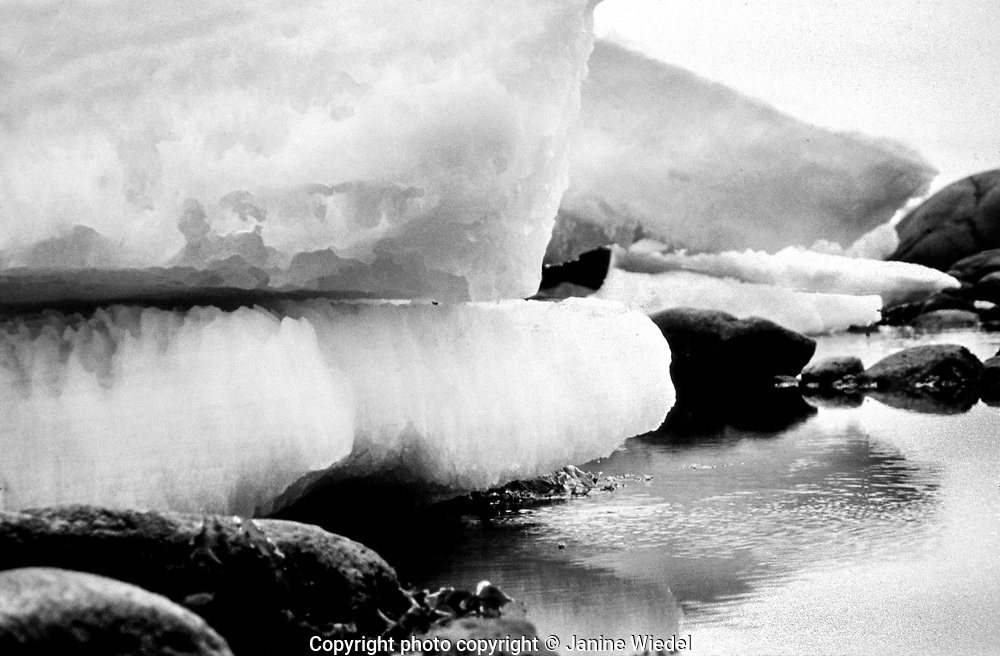 Icebergs in the Canadian Arctic settlement of Pangnirtung in the territory of Nunavut (North West Territories) 1973