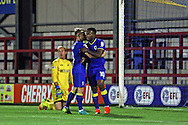 AFC Wimbledon midfielder Jake Reeves (8) congratulates AFC Wimbledon striker Dominic Poleon (10) during the EFL Trophy match between AFC Wimbledon and U23 Swansea City at the Cherry Red Records Stadium, Kingston, England on 30 August 2016. Photo by Stuart Butcher.