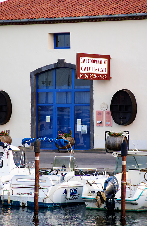 The old harbour. Cave Cooperative H de Richemer. Marseillan. Languedoc. France. Europe.