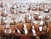 The Spanish Armada which threatened England in July 1588. Painting in the collection of the National Maritime Museum, Greenwich, England
