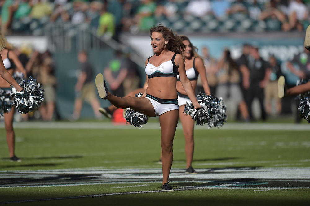 Cheerleader against the Dallas Cowboys at Lincoln Financial Field on September 20, 2015 in Philadelphia, Pennsylvania. The Cowboys won 20-10. (Photo by Drew Hallowell/Philadelphia Eagles)