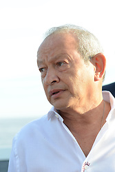 L-R : Egyptian billionaire Naguib Sawiris seen on his private yacht in Cannes, France on May 21, 2017. Sawiris organized a party on his yacht to announce the launch of a new film festival to take place in Egypt in September 2017 at El Gouna small town. Photo by Ammar Abd Rabbo/ABACAPRESS.COM