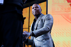 April 26, 2018 - Arlington, TX, U.S. - ARLINGTON, TX - APRIL 26: Ryan Shazier announces the Pittsburgh Steelers 28th pick during the first round at the 2018 NFL Draft at AT&T Statium on April 26, 2018 at AT&T Stadium in Arlington Texas.  (Photo by Rich Graessle/Icon Sportswire) (Credit Image: © Rich Graessle/Icon SMI via ZUMA Press)