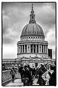 Dome of St. Paul's Cathederal From Millenium Bridge<br /> London - Nov. 2013