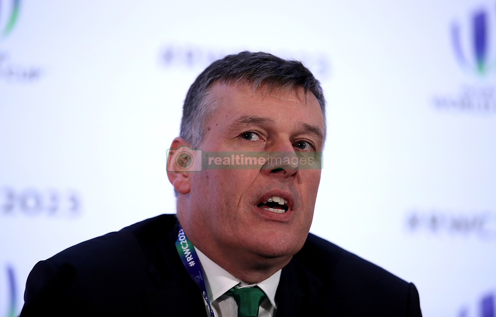 IRFU Chief Executive Philip Browne during the 2023 Rugby World Cup host union announcement at The Royal Garden Hotel, Kensington.