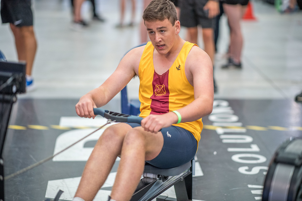 Steve Darcy MALE HEAVYWEIGHT U16 2K Race #5 09:30am<br /> <br /> <br /> www.rowingcelebration.com Competing on Concept 2 ergometers at the 2018 NZ Indoor Rowing Championships. Avanti Drome, Cambridge,  Saturday 24 November 2018 © Copyright photo Steve McArthur / @RowingCelebration