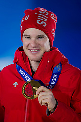 14.02.2014, Olympic Park, Adler, RUS, Sochi, 2014, Medaillenfeier Herren Langlauf, 15 km, im Bild Dario Cologna mit der Goldmedaille // during Mens Cross Country 15km Medal Ceremony of the Olympic Winter Games Sochi 2014 at the Olympic Park in Adler, Russia on 2014/02/14. EXPA Pictures © 2014, PhotoCredit: EXPA/ Freshfocus/ Urs Lindt<br /> <br /> *****ATTENTION - for AUT, SLO, CRO, SRB, BIH, MAZ only*****
