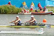 Eton Dorney, Windsor, Great Britain,..2012 London Olympic Regatta, Dorney Lake. Eton Rowing Centre, Berkshire.  Dorney Lake.  ..Final Women's Double Scull, GBR W2X, Bow Anna WATKINS and Katherine GRAINGER..12:17:01  Friday  03/08/2012 [Mandatory Credit: Peter Spurrier/Intersport Images]