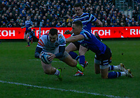 Leicester Tigers Jonny May scores his sides first try<br /> <br /> Photographer Bob Bradford/CameraSport<br /> <br /> Gallagher Premiership Round 11 - Bath Rugby v Leicester Tigers - Sunday 30th December 2018 - The Recreation Ground - Bath<br /> <br /> World Copyright © 2018 CameraSport. All rights reserved. 43 Linden Ave. Countesthorpe. Leicester. England. LE8 5PG - Tel: +44 (0) 116 277 4147 - admin@camerasport.com - www.camerasport.com