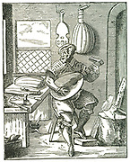 Lute Maker in his workshop.  Woodcut by Jost Amman (1535-1591).
