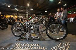 "Custom Yamaha XS 650 named ""La Mutante"" from Bottega Bastarda at EICMA, the largest international motorcycle exhibition in the world. Milan, Italy. November 19, 2015.  Photography ©2015 Michael Lichter."