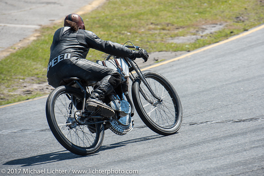 Billy Lane racing his 1924 single-speed 1924 Harley-Davidson Model J 62 cubic inch racer in Billy's Son's of Speed race during Daytona Bike Week. New Smyrna Beach, FL. USA. Saturday March 18, 2017. Photography ©2017 Michael Lichter.
