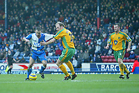 Photo. Andrew Unwin, Digitalsport<br /> Blackburn Rovers v Norwich, Barclays Premiership, Ewood Park, Blackburn 12/02/2005.<br /> Blackburn's Paul Dickov (L) fires home his team's third, and his second, goal of the game..