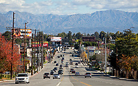 Looking east on Ventura Blvd in Woodland Hills, Ca. has a dramatic view of the mountains.  December 27, 2012. Photo by David Sprague Copyright 2012