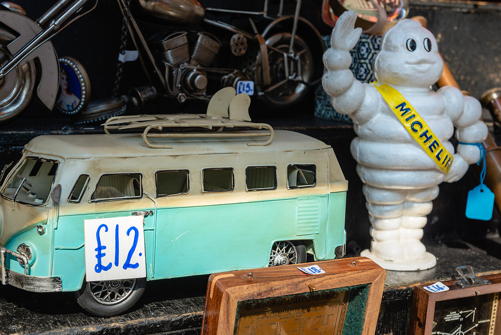 Toys on display at an antique stall in Portobello Road market