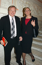 ANJI HUNTER abd ADAM BOLTON at a party to celebrate the publication of Andrew Robert's new book 'Waterloo: Napoleon's Last Gamble' and the launch of the paperback version of Leonie Fried's book 'Catherine de Medici' held at the English-Speaking Union, Dartmouth House, 37 Charles Street, London W1 on 8th February 2005.<br />