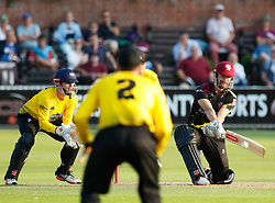 Somerset's James Hildreth reverse sweeps for four<br /> <br /> Photographer Simon King/Replay Images<br /> <br /> Vitality Blast T20 - Round 1 - Somerset v Gloucestershire - Friday 6th July 2018 - Cooper Associates County Ground - Taunton<br /> <br /> World Copyright © Replay Images . All rights reserved. info@replayimages.co.uk - http://replayimages.co.uk
