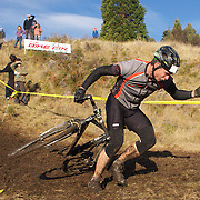 Tim Mulliner falls from his bike during the thrills and spills of the New Zealand Cyclocross Championships sponsored by AJ Hackett Bungy, held at Jardine Park,  Queenstown, as part of the Queenstown WInter Festival. The men's event was won by Dan Warren from Hastings while Anja McDonald from Dunedin won the women's event. Queenstown, New Zealand, 2nd July 2011