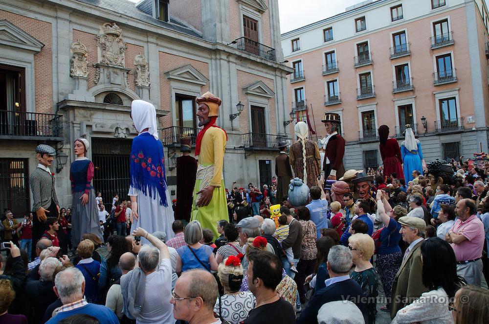'Gigantes y Cabezudos' from Madrid perform different dances at Plaza de la Villa square as ending of San Isidro parade.