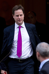 © Licensed to London News Pictures. 16/10/2012. LONDON, UK. Nick Clegg, the Deputy Prime Minister, is seen leaving number 10 Downing Street after today's meeting of David Cameron's cabinet in London today (16/10/12). Photo credit: Matt Cetti-Roberts/LNP