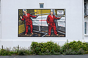 Respect Road 2020 by artists Gilbert & George, one of six images that will be displayed as billboards for the Creative Folkestone Triennial 2020, The Plot on 15th July 2021 in Folkestone, United Kingdom. This is Folkestones 5th open air art exhibition and the third one curated by Lewis Biggs. The Plot sees 27 newly commissioned artworks appearing around the south coast seaside town. The new work builds on the work from previous triennials making Folkestone the biggest urban outdoor contemporary art exhibition in the UK.