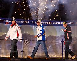 09.02.2011, Kandahar, Garmisch Partenkirchen, GER, FIS Alpin Ski WM 2011, GAP, Herren Super G, , Medal Ceremony, im Bild silber Medaillen Gewinner Hannes Reichelt (AUT), Weltmeister Christof Innerhofer (ITA) und der bronze Medaillen Gewinner Ivica Kostelic (CRO) // Winners Presentation, silver Medal for Hannes Reichelt (AUT), Gold Medal and World Champion Christof Innerhofer (ITA) und bronze Medal Ivica Kostelic (CRO) during Men Super G, Fis Alpine Ski World Championships in Garmisch Partenkirchen, Germany on 9/2/2011. EXPA Pictures © 2011, PhotoCredit: EXPA/ J. Groder