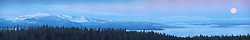 Super Moon, Sunrise, Yellowstone Lake, Yellowstone National Park.  A very large panorama that can be printed nine feet wide at 300 DPI.
