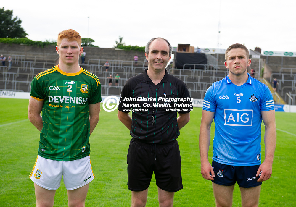 15-07-21. Meath v Dublin - Eirgrid Leinster U-20 Football Championship Semi-Final at Pairc Tailteann, Navan.<br /> Meath captain James O'Hare and Dublin captain Rory Dwyer pictured with referee Fergus Smyth, Offaly.<br /> Photo: John Quirke / www.quirke.ie<br /> ©John Quirke Photography, 16 Proudstown Road, Navan. Co. Meath. (info@quirke.ie / 046-9028461 / 087-2579454).