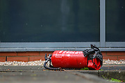 Leicester, United Kingdom, May 21, 2021: A general view shows a canister that is believed to be filled with red colour, is seen left aground in the yard the occupied building of Israeli-owned weapons manufacturing plant in the city of Leicester United Kingdom, on Friday, May 21, 2021. (Photo by Vudi Xhymshiti)