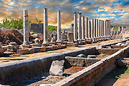 Ruins of the Roman Columned street which was lined with shops & stores. the troughs in the foreground were filled with running  water from the Fountain of the Acropolis. Perge (Perga) archaeological site, Turkey .<br /> <br /> If you prefer to buy from our ALAMY PHOTO LIBRARY  Collection visit : https://www.alamy.com/portfolio/paul-williams-funkystock/perge-archaeological-site-turkey.html<br /> <br /> Visit our CLASSICAL WORLD HISTORIC SITES PHOTO COLLECTIONS for more photos to download or buy as wall art prints https://funkystock.photoshelter.com/gallery-collection/Classical-Era-Historic-Sites-Archaeological-Sites-Pictures-Images/C0000g4bSGiDL9rw