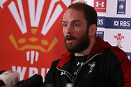 Alun Wyn Jones , the Wales captain speaks to the press during the Wales rugby team announcement press conference at the Vale Resort, Hensol near Cardiff, South Wales on Thursday 16th March 2017. The team are preparing for their final RBS Six nations match away to France this weekend. <br /> pic by  Andrew Orchard, Andrew Orchard sports photography.