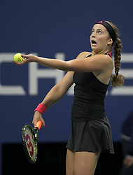 September 1, 2018 - Flushing Meadows, New York, U.S - Jelena Ostapenko during her match against Maria Sharapova on Day 6 of the 2018 US Open at USTA Billie Jean King National Tennis Center on Saturday September 1, 2018 in the Flushing neighborhood of the Queens borough of New York City. Sharapova defeats Ostapenko 6-3, 6-2. (Credit Image: © Prensa Internacional via ZUMA Wire)