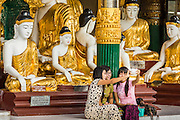 15 JUNE 2013 - YANGON, MYANMAR: Tourists take pictures of themselves in front of a hall of Buddha statues at Shwedagon Pagoda. Shwedagon Pagoda is officially known as Shwedagon Zedi Daw and is also called the Great Dagon Pagoda or the Golden Pagoda. It is a 99 meter (325 ft) tall pagoda and stupa located in Yangon, Burma. The pagoda lies to the west of on Singuttara Hill, and dominates the skyline of the city. It is the most sacred Buddhist pagoda in Myanmar and contains relics of the past four Buddhas enshrined: the staff of Kakusandha, the water filter of Koṇāgamana, a piece of the robe of Kassapa and eight strands of hair from Gautama, the historical Buddha. Burmese believe the pagoda was established as early ca 540BC, but archaeological suggests it was built between the 6th and 10th centuries. The pagoda has been renovated numerous times through the centuries. Millions of Burmese and tens of thousands of tourists visit the pagoda every year, which is the most visited site in Yangon. PHOTO BY JACK KURTZ