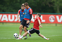 CARDIFF, WALES - Saturday, June 4, 2016: Wales' Emyr Huws and David Vaughan during a training session at the Vale Resort Hotel ahead of the International Friendly match against Sweden. (Pic by David Rawcliffe/Propaganda)