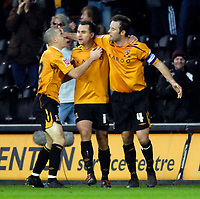 Photo: Jed Wee/Sportsbeat Images.<br /> Hull City v Cardiff City. Coca Cola Championship. 01/12/2007.<br /> <br /> Hull's Dean Marney (L) and Ian Ashbee (R) celebrate with goal scorer Richard Garcia.