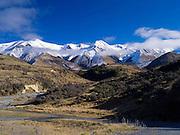 View of the Torlesse Range looking up  the Broken River along Highway 73, New Zealand.