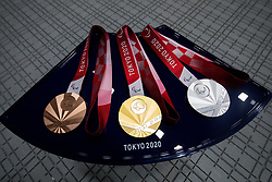 TOKYO, JAPAN - SEPTEMBER 01: Set of Paralympic medals at medal ceremony after the R5 - Mixed 10m Air Rifle Prone SH3 Final on day 8 of the Tokyo 2020 Paralympic Games at Asaka Shooting Range on September 01, 2021 in Asaka, Japan.  Photo by Vid Ponikvar / Sportida