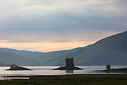 Stalker Castle, a highland fortress, on Loch Linnhe at sunset near Strontian, Argyll, in the HIghlands of Scotland