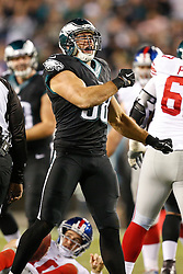 Philadelphia Eagles outside linebacker Connor Barwin #98 reacts after a sack during the NFL game between the New York Giants and the Philadelphia Eagles at Lincoln Financial Field in Philadelphia on Sunday October 12th 2014. The Eagles won 27-0. (Brian Garfinkel/Philadelphia Eagles)