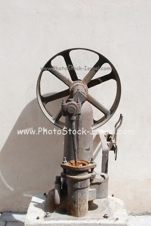 Industrial kerosene powered water pump from 1906 photographed in Israel