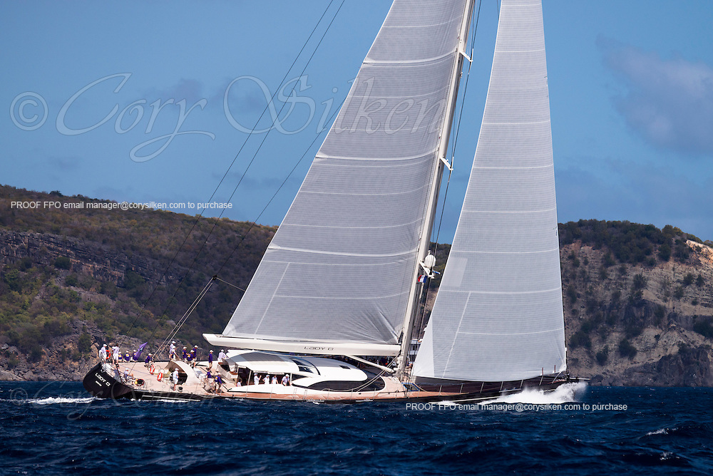 Lady B sailing in the St. Barth's Bucket Regatta, day two.