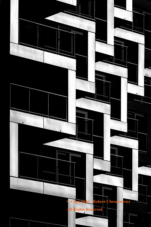 Obliquely Low Key: An oblique low angle view of this high-rise near dawn, Vancouver British Columbia Canada