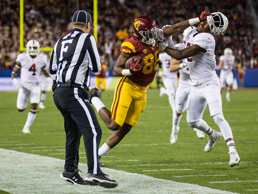 Dec 01 2017 - Santa Clara U.S.A  CA  USC tight end Daniel Imatorbhebhe (88) catch a deep pass from QB Sam Darnold run up the sideline for extra yards during the NCAA  Pac 12 Football Championship game between Stanford Cardinal and USC Trojans 31-28 win at Levi Stadium Santa Clara Calif. Thurman James / CSM